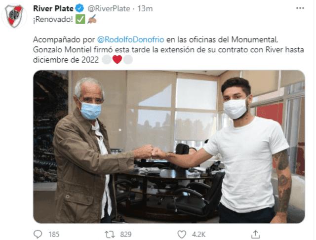 Gonzalo Montiel renovó su contrato con River