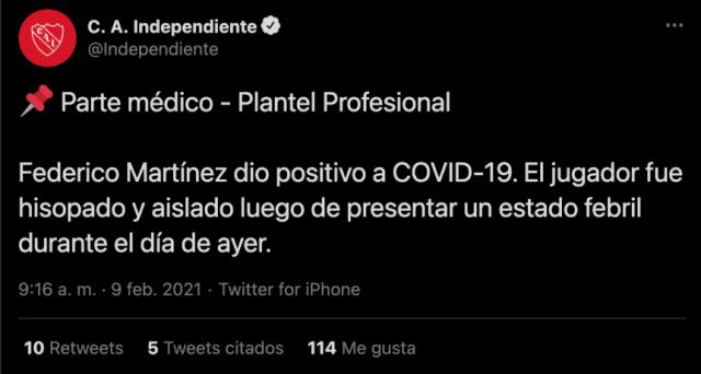 Federico Martínez, positivo por coronavirus