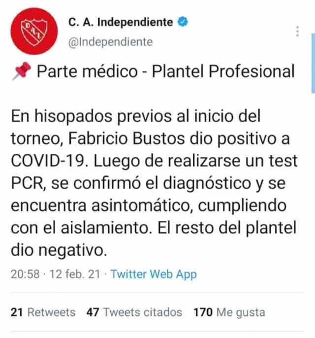 Alarma en Independiente: Fabricio Bustos dio positivo por coronavirus de nuevo