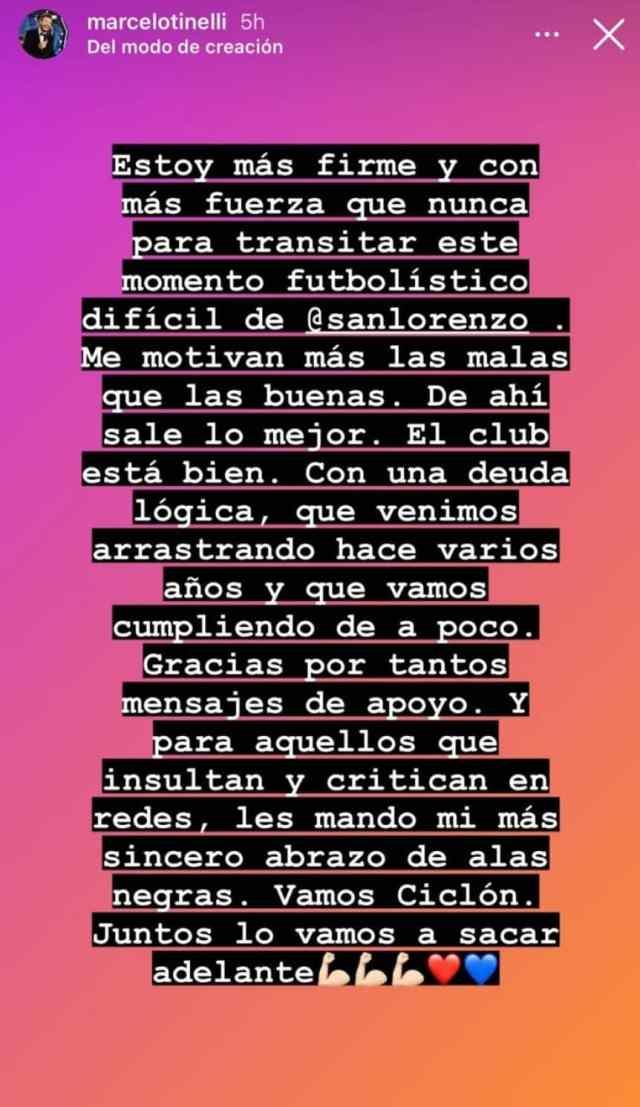 """Tinelli y sus fuertes posteos sobre San Lorenzo: de """"las malas me motivan más"""" a """"lo que vemos en cancha es muy pobre"""""""