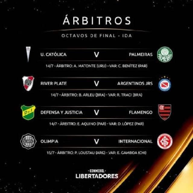 Copa Liberatadores 2021 arbitros octavos