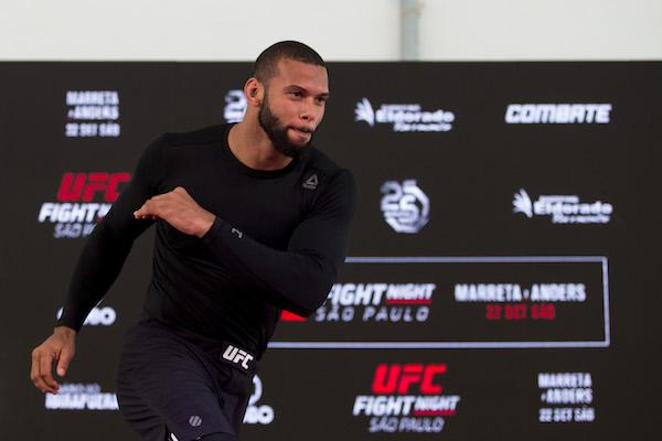 SAO PAULO, BRAZIL - SEPTEMBER 19: UFC light heavyweight contender <a href='../fighter/Thiago-Santos'>Thiago Santos</a> of Brazil holds an open training session at Eldorado Mall on September 19, 2018 in Sao Paulo, Brazil. (Photo by Bruna Prado/Zuffa LLC)