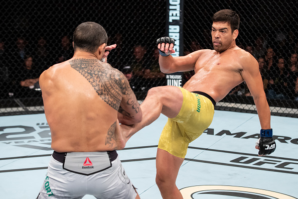 RIO DE JANEIRO, BRAZIL - MAY 12: Lyoto Machida (L ) of Brazil kicks Vitor Belfort of Brazil in their middleweight bout during the UFC 224 event at Jeunesse Arena on May 12, 2018 in Rio de Janeiro, Brazil. (Photo by Buda Mendes/Zuffa LLC/Zuffa LLC)
