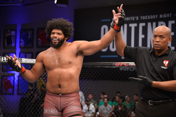 LAS VEGAS, NV - JULY 31:  Juan Adams celebrates after his TKO victory over Shawn Teed in their heavyweight fight during Dana White's Tuesday Night Contender Series at the TUF Gym on July 31, 2018 in Las Vegas, Nevada. (Photo by Chris Unger/DWTNCS LLC