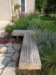 Custom bench adjacent to perennials