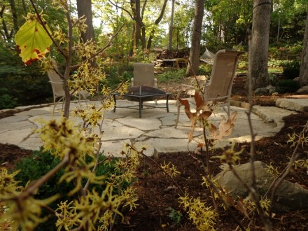 Flagstone sitting area with outdoor furniture