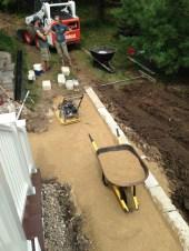 Crushed gravel base for bluestone walk