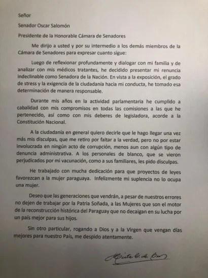 Esta es la nota de renuncia de la senadora Mirta Gusinky.