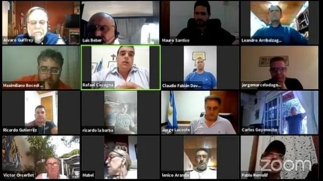 El grupo Convergencia, del radicalismo entrerriano, en un reciente encuentro por Zoom.