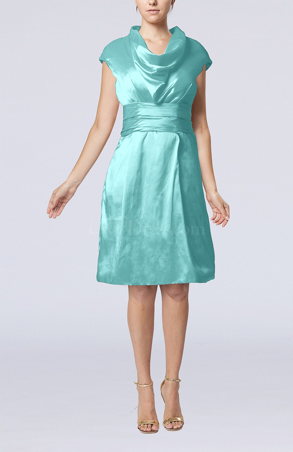 Turquoise Modern Jewel Short Sleeve Taffeta Knee Length