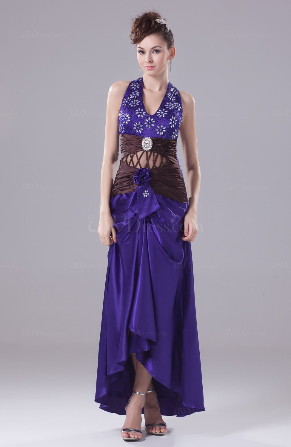 Dark Purple Modern Sheath Halter Silk Like Satin Tea