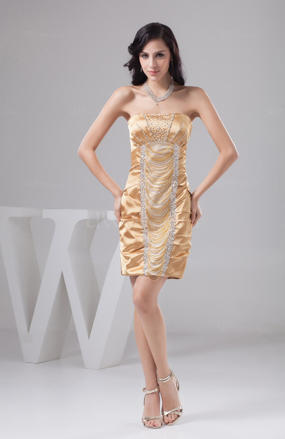 Beige Unique Bridesmaid Dress Beach Sexy Sheath Tight