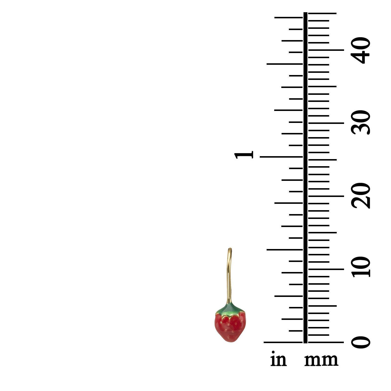 14k Solid Yellow Gold Eliptical Hoop Earrings Strawberry