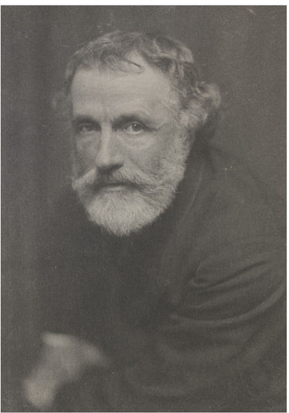 George Meredith (1828-1909), English novelist and poet, in 1886. RLS proposed for a subscription among his friends to have a portrait painted of him [http://media.vam.ac.uk]