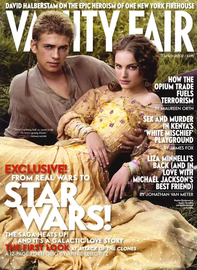 Hayden Christensen as Anakin Skywalker and Natalie Portman as Amidala on the March 2002 cover.
