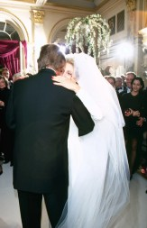Trump's 1993 wedding to Maples, the second Mrs. Trump. Strangely, the hair on the left side of the groom's head is a full half foot taller than on the right. This imbalance may be the result of the three or four inter-dimensional, gravity-warping vortexes clearly visible in the back of his head.