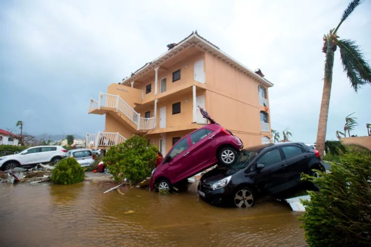 Florida Braces for Impact as Hurricane Irma Turns North   Vanity Fair A photo taken on September 6  2017 shows cars piled on top of one another  in Marigot  near the Bay of Nettle  on the French Collectivity of Saint  Martin