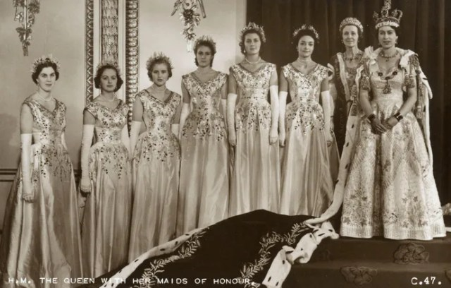 Queen Elizabeth and her coronation maids of honor.