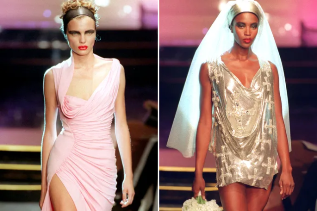 Supermodels walk the runway in Versace's 1997 show.