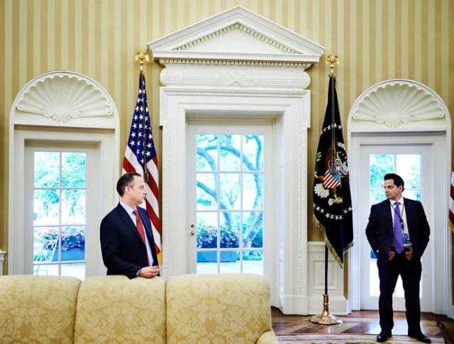 Newly appointed Communications Director Scaramucci in the Oval Office with former White House chief of staff Reince Priebus.