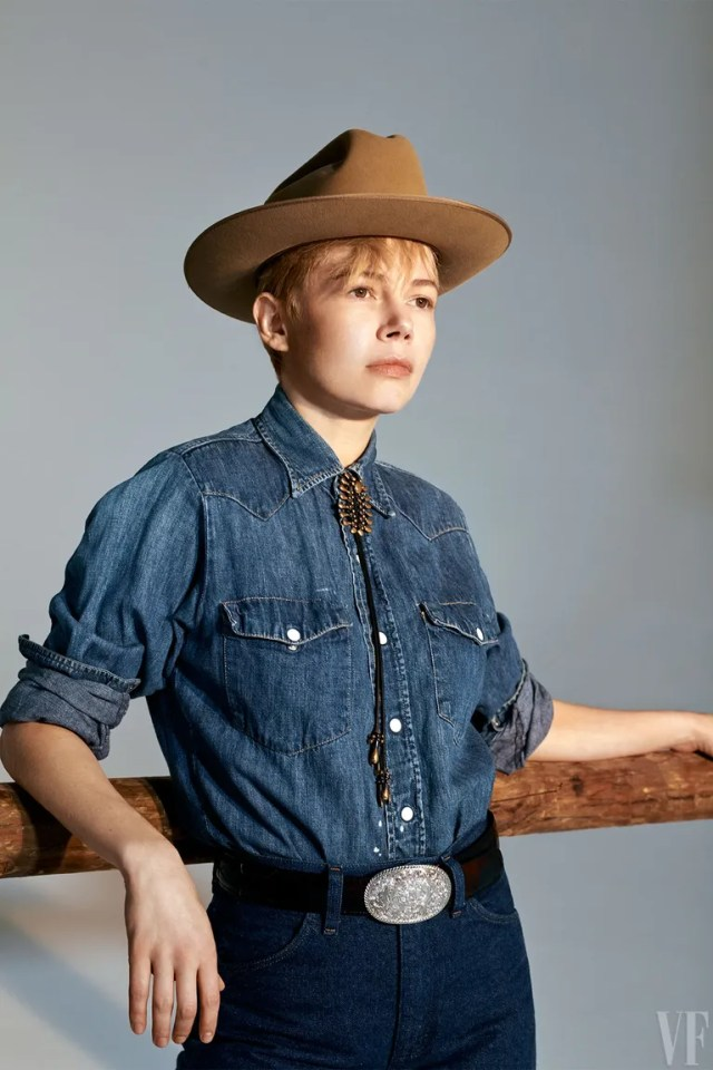 Michelle Williams in Jeans by Wrangler; hat by JJ Hat Center; belt by Lucchese; bolo by Lisa Eisner; vintage shirt and belt buckle from Early Halloween.