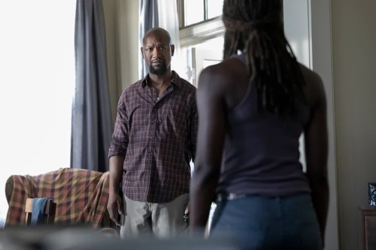Danai Gurira as Michonne, Kenric Green as Scott - The Walking Dead _ Season 9, Episode 5 - Photo Credit: Jackson Lee Davis/AMC
