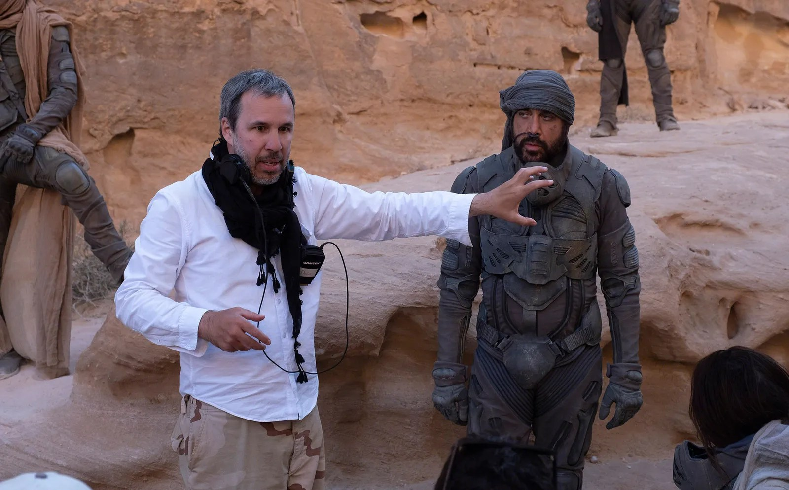 pDirector Denis Villeneuve and Javier Bardem on the setp