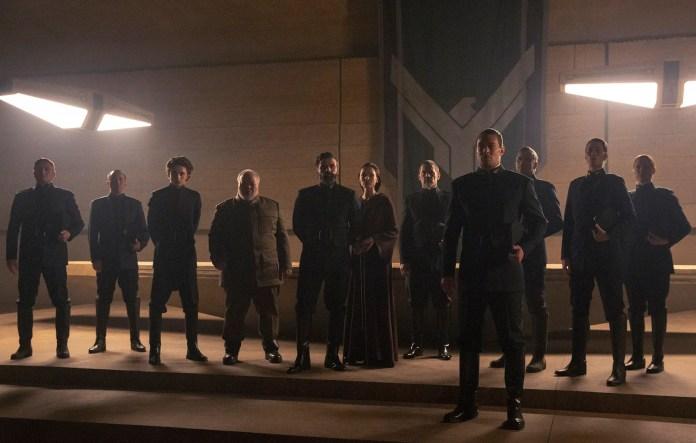 pThe House Atreides Left to Right Timothe Chalamet as Paul Atreides Stephen Mckinley Henderson as Thufir Hawat Oscar...