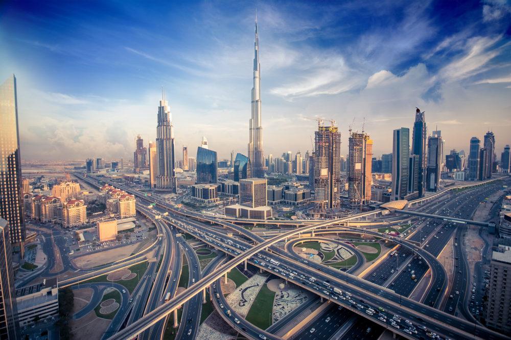 stadssiluetten i Dubai, storstaden Dubai, storstäder i Förenade Arabemiraten
