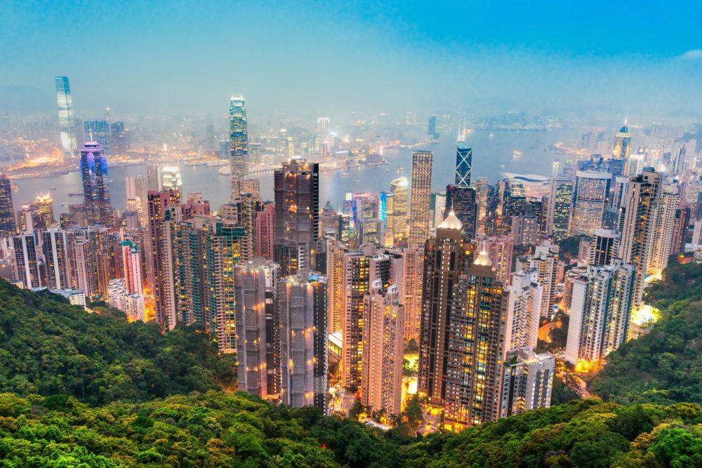stadssiluetten i Hong Kong, storstäder i Kina