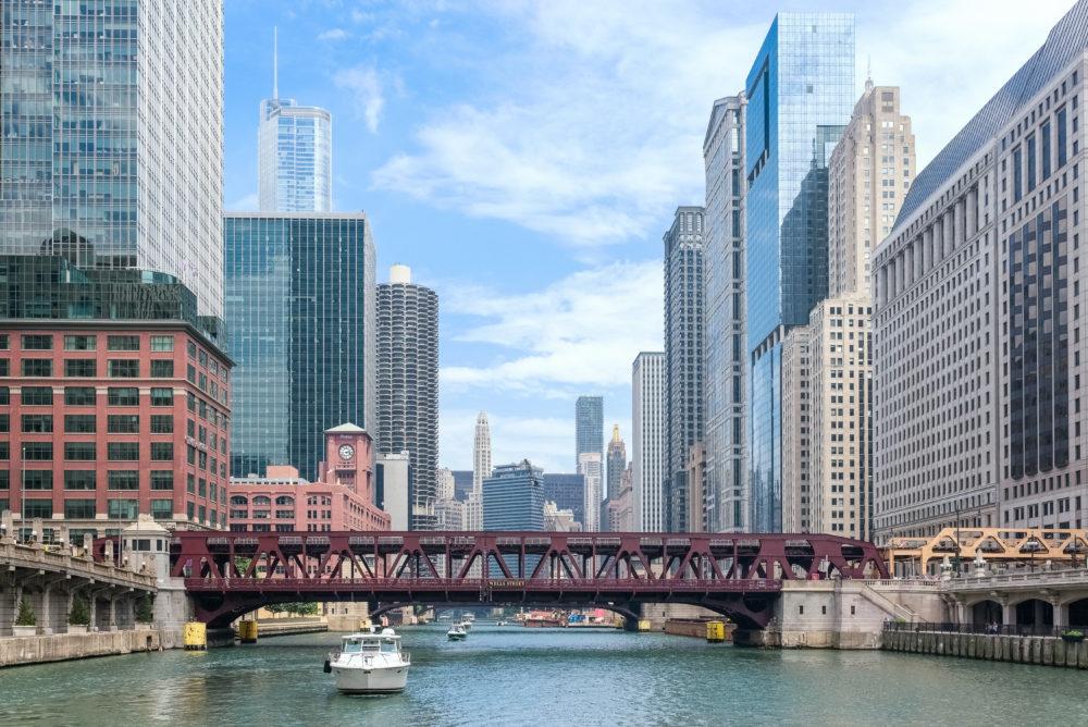 stadssiluetten i Chicago, storstäder i Illinois, storstäder i USA