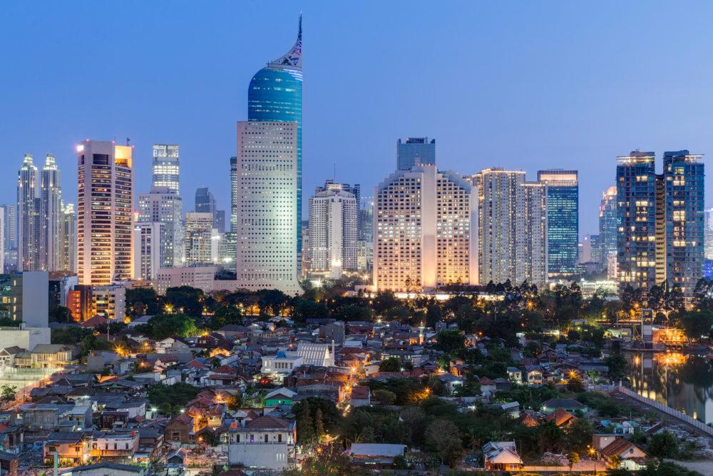 stadssiluetten i Jakarta, storstäder i Indonesien