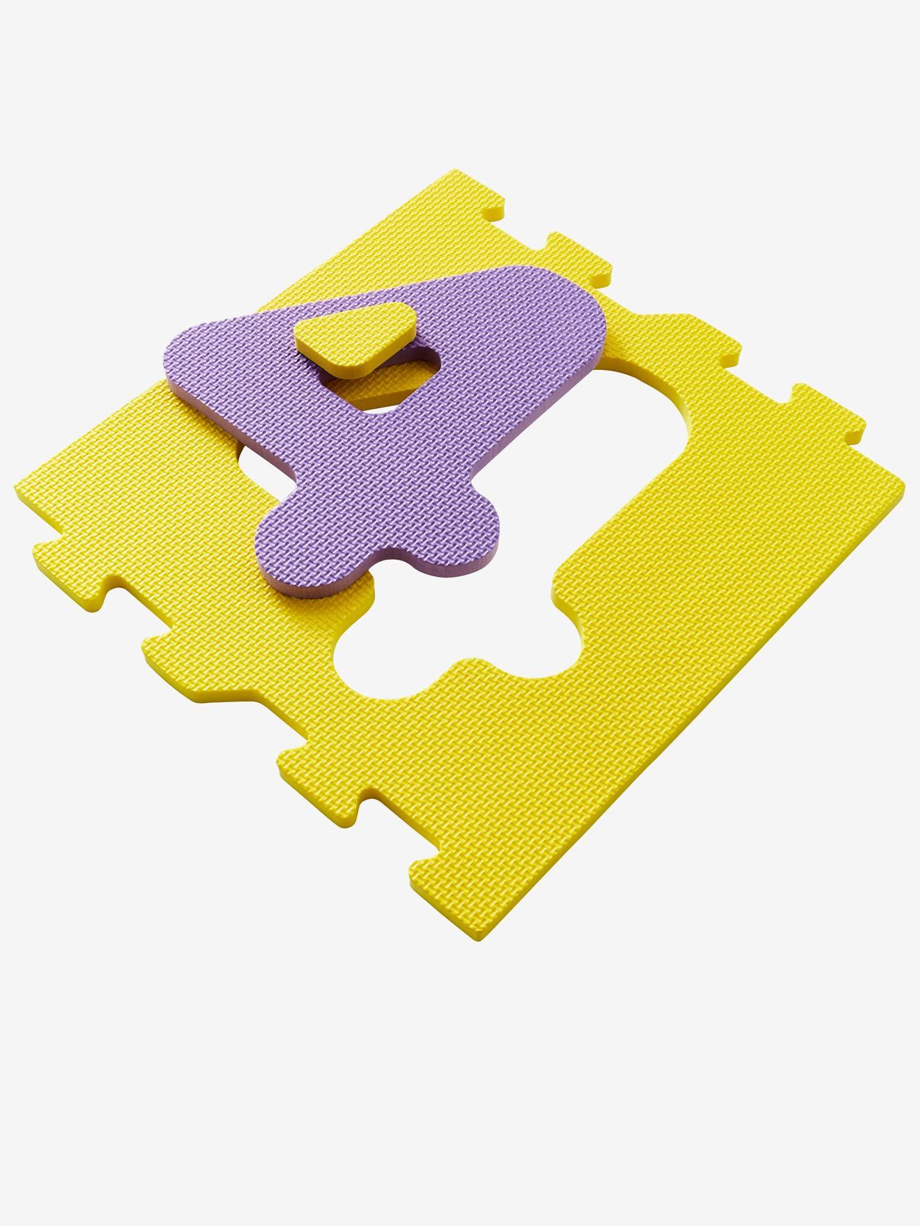 tapis de jeux marelle et puzzle en mousse 4 palets multicolore