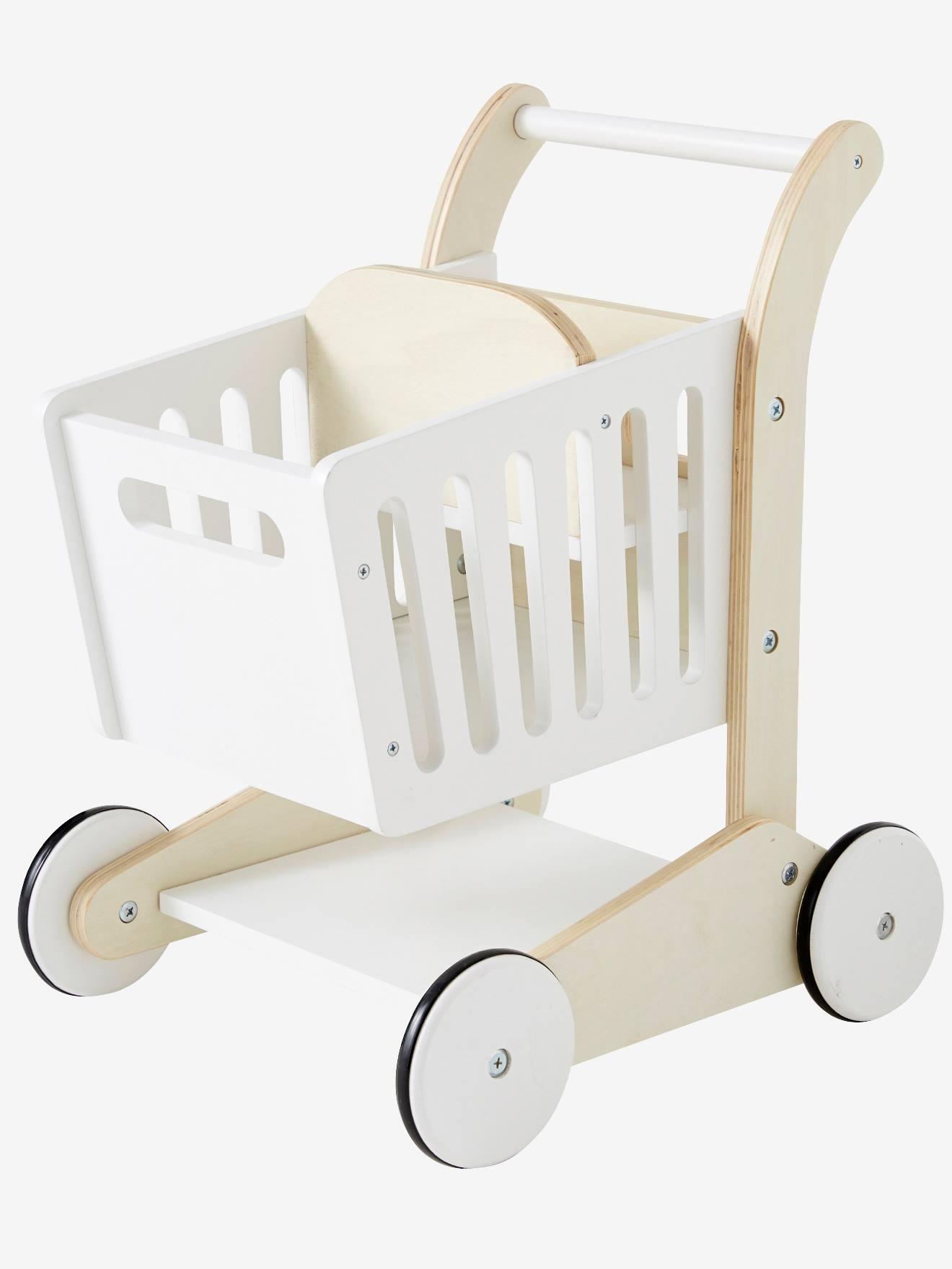 chariot de course en bois blanc