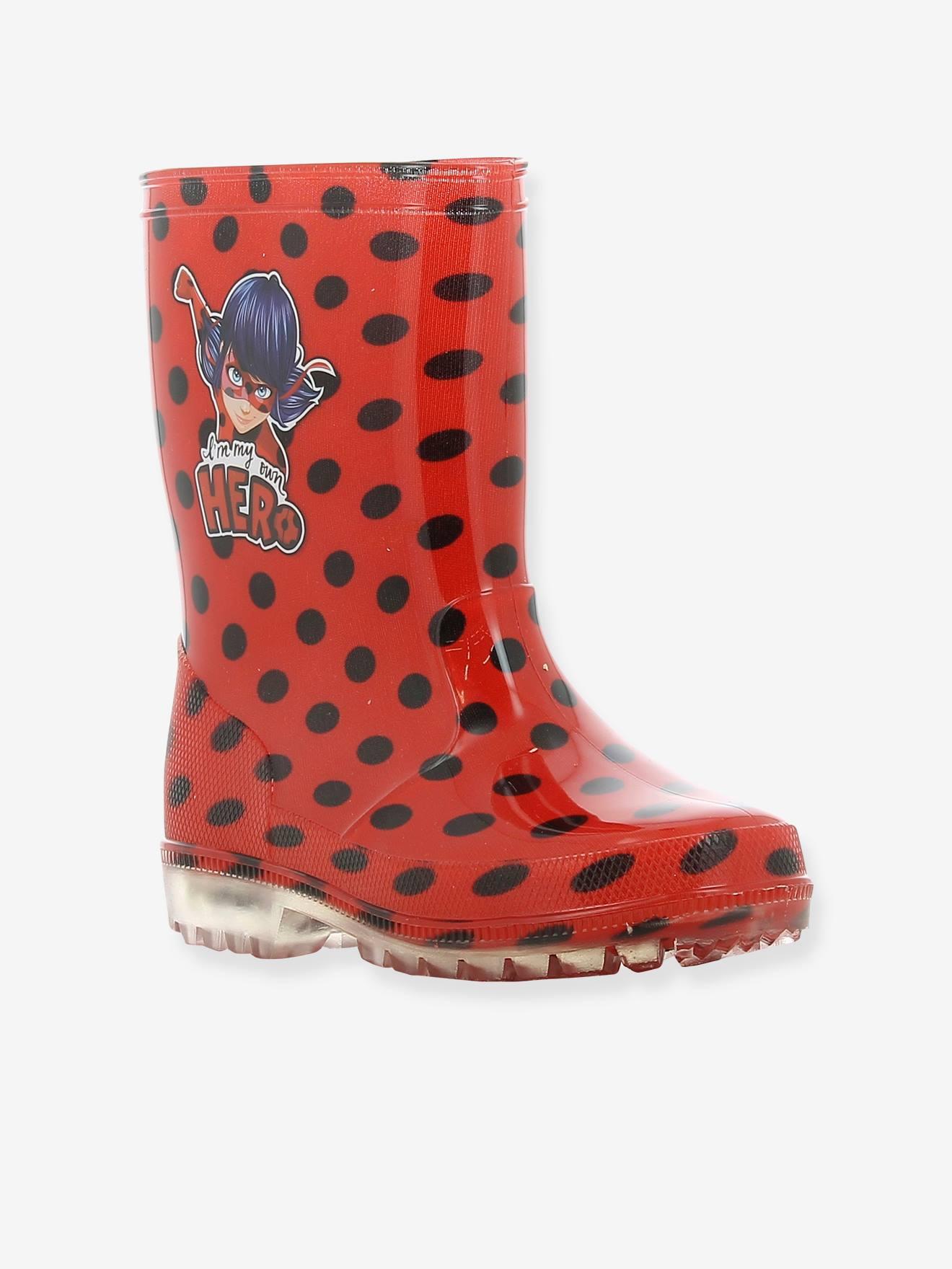 bottes de pluie avec semelle lumineuse miraculous rouge