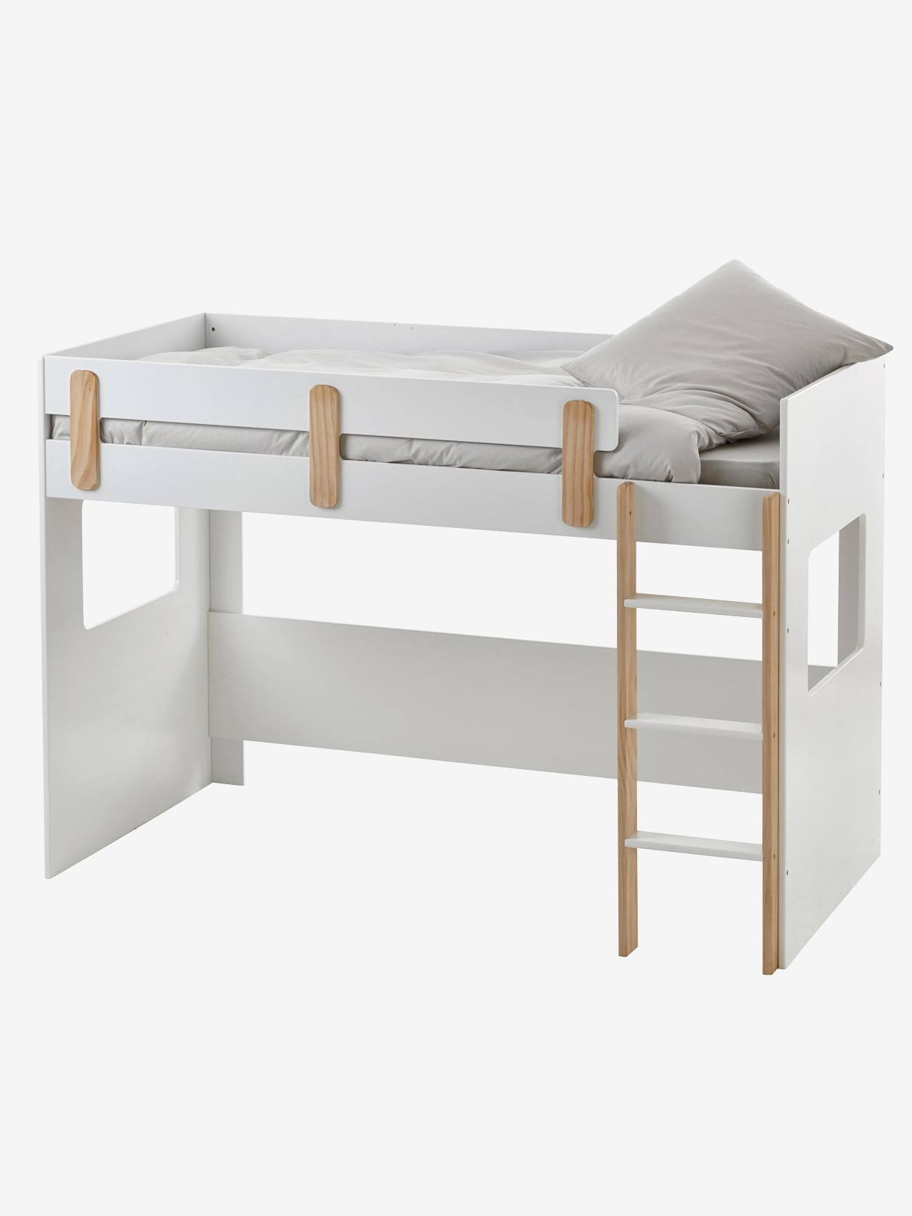 lit mezzanine mi hauteur ligne everest blanc bois