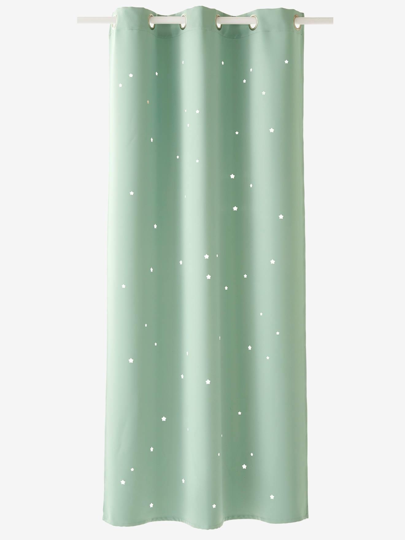 rideau assombrissant vert amande etoiles