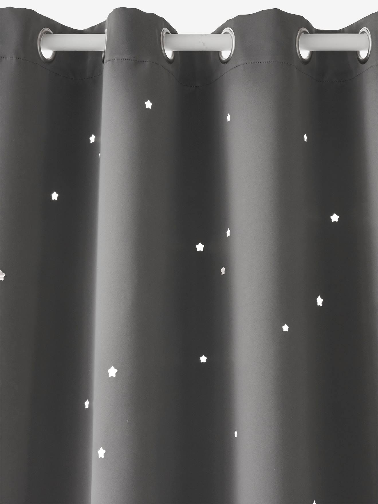 rideau assombrissant gris fonce etoiles