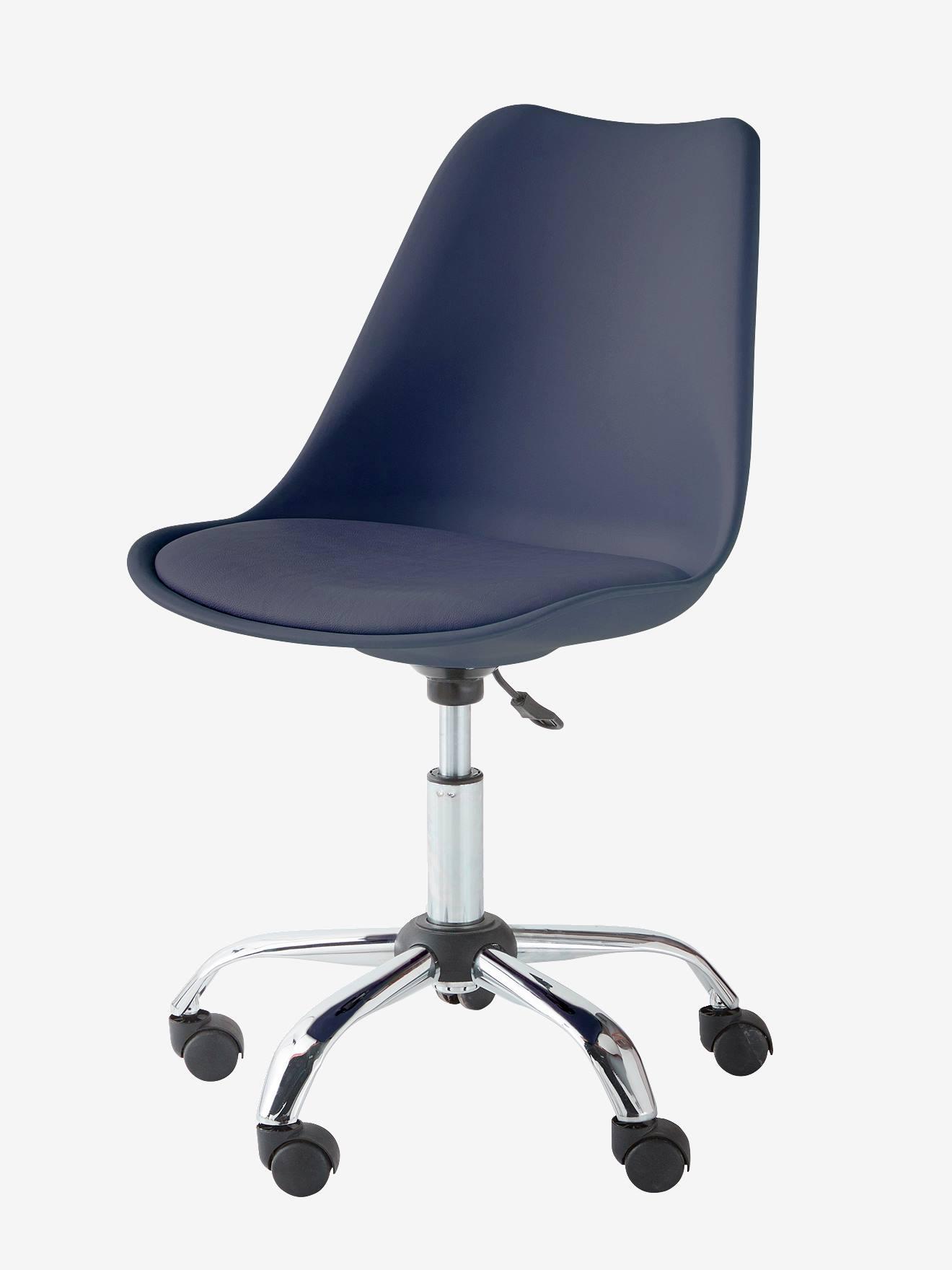 chaise de bureau primaire a roulettes bleu marine
