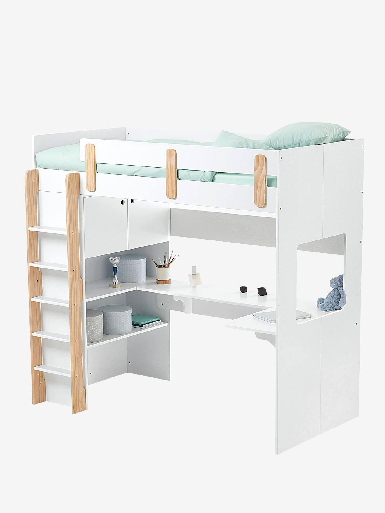 lit mezzanine combine ligne everest blanc bois
