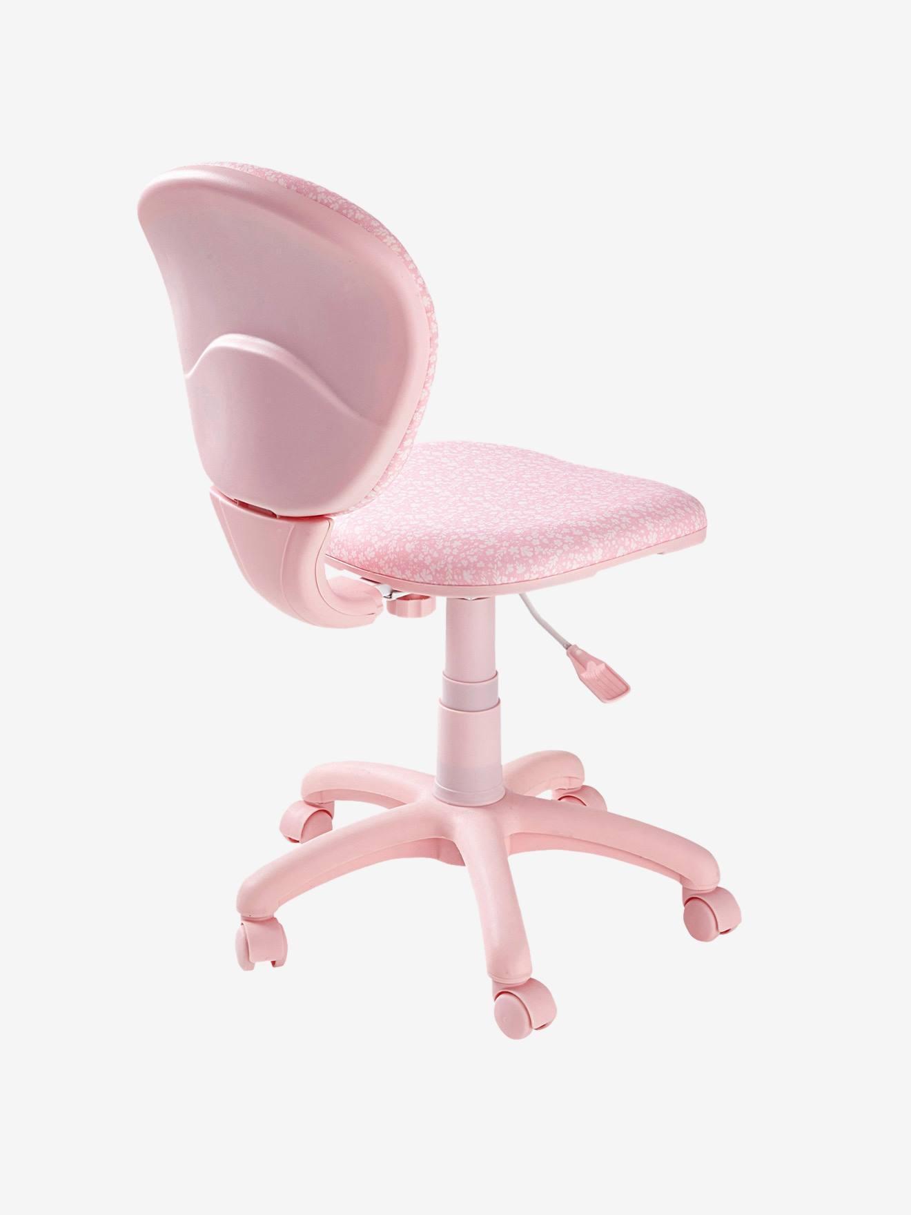 chaise de bureau a roulettes rose fleurs