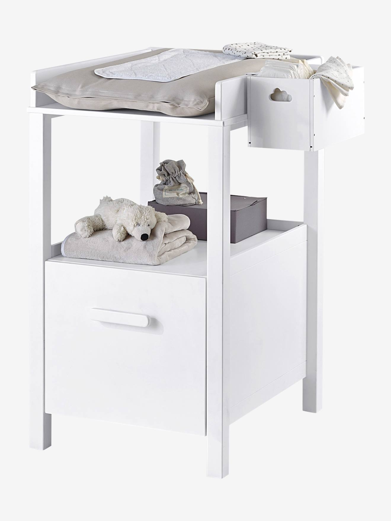 table a langer avec tiroir variety blanc