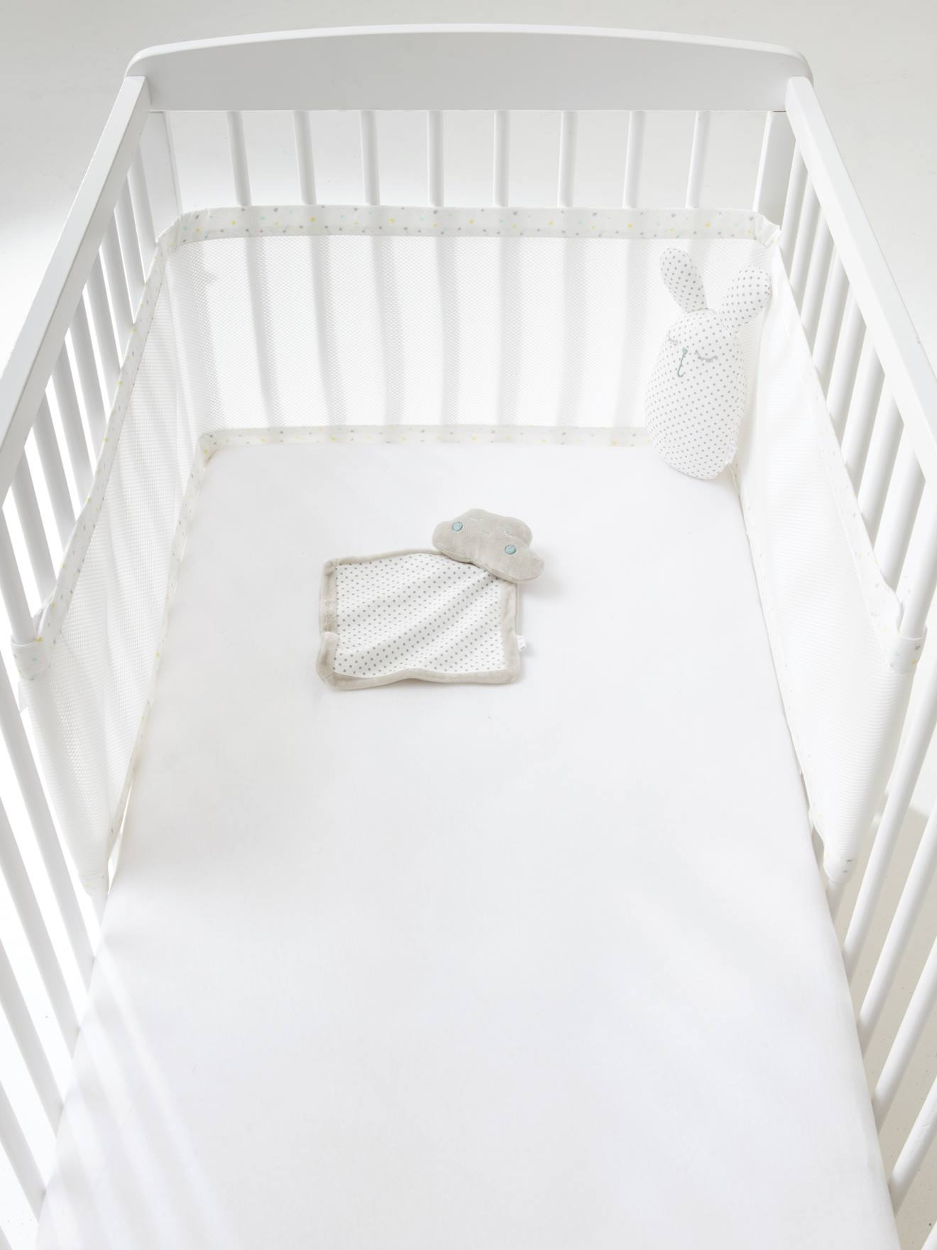 tour de lit respirant etoiles du soir blanc