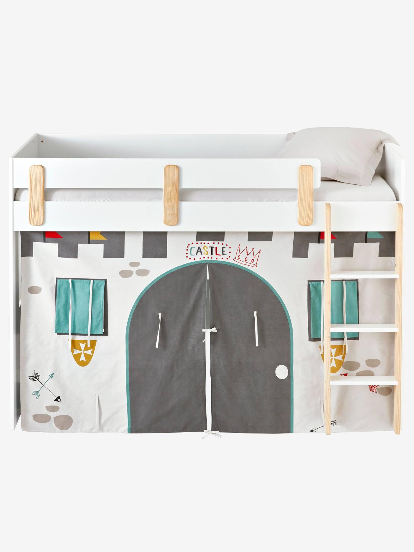 tente de lit chateau fort pour lit mezzanine mi hauteur ligne everest gris