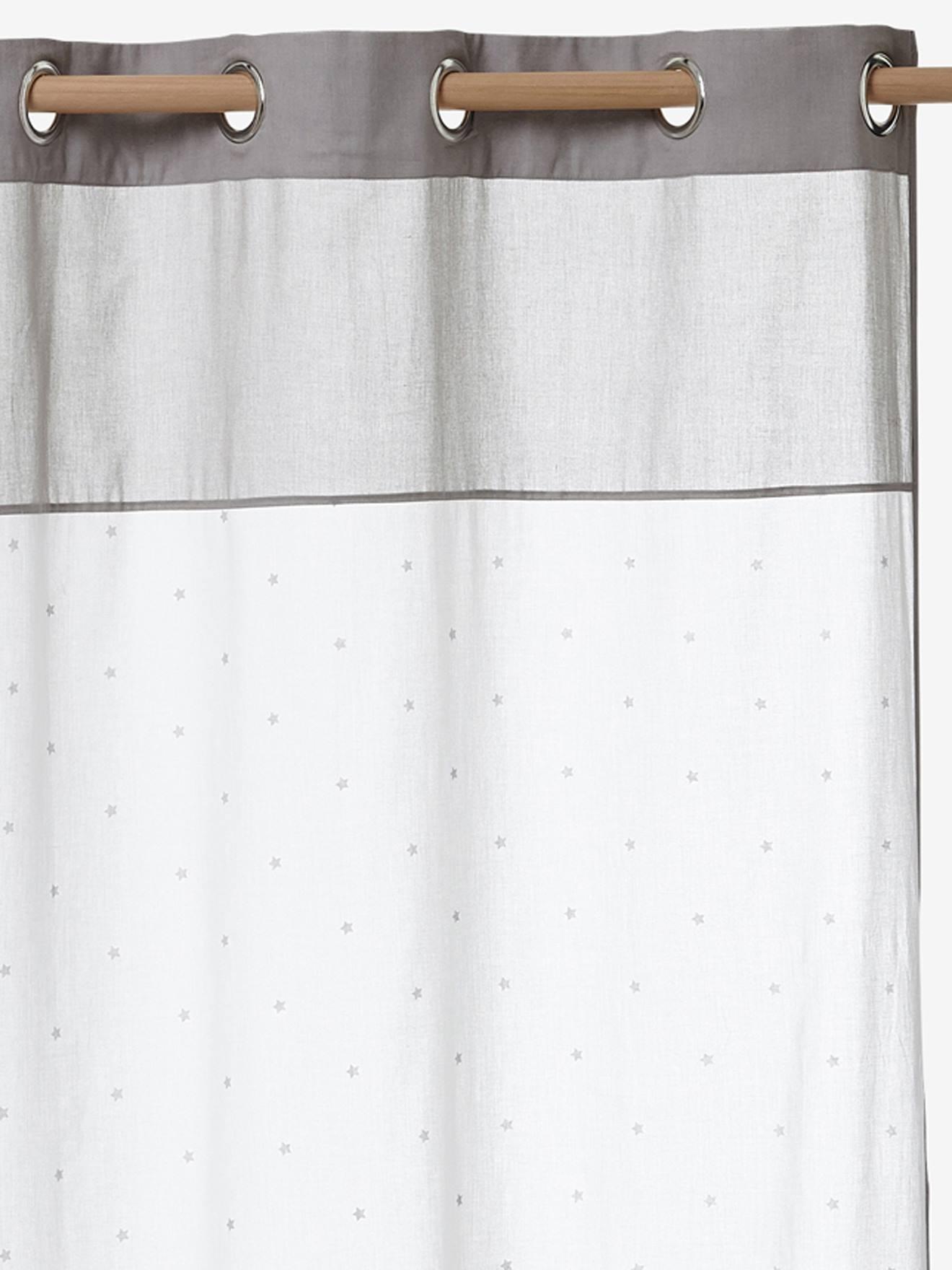 rideau voilage etoiles blanc grege