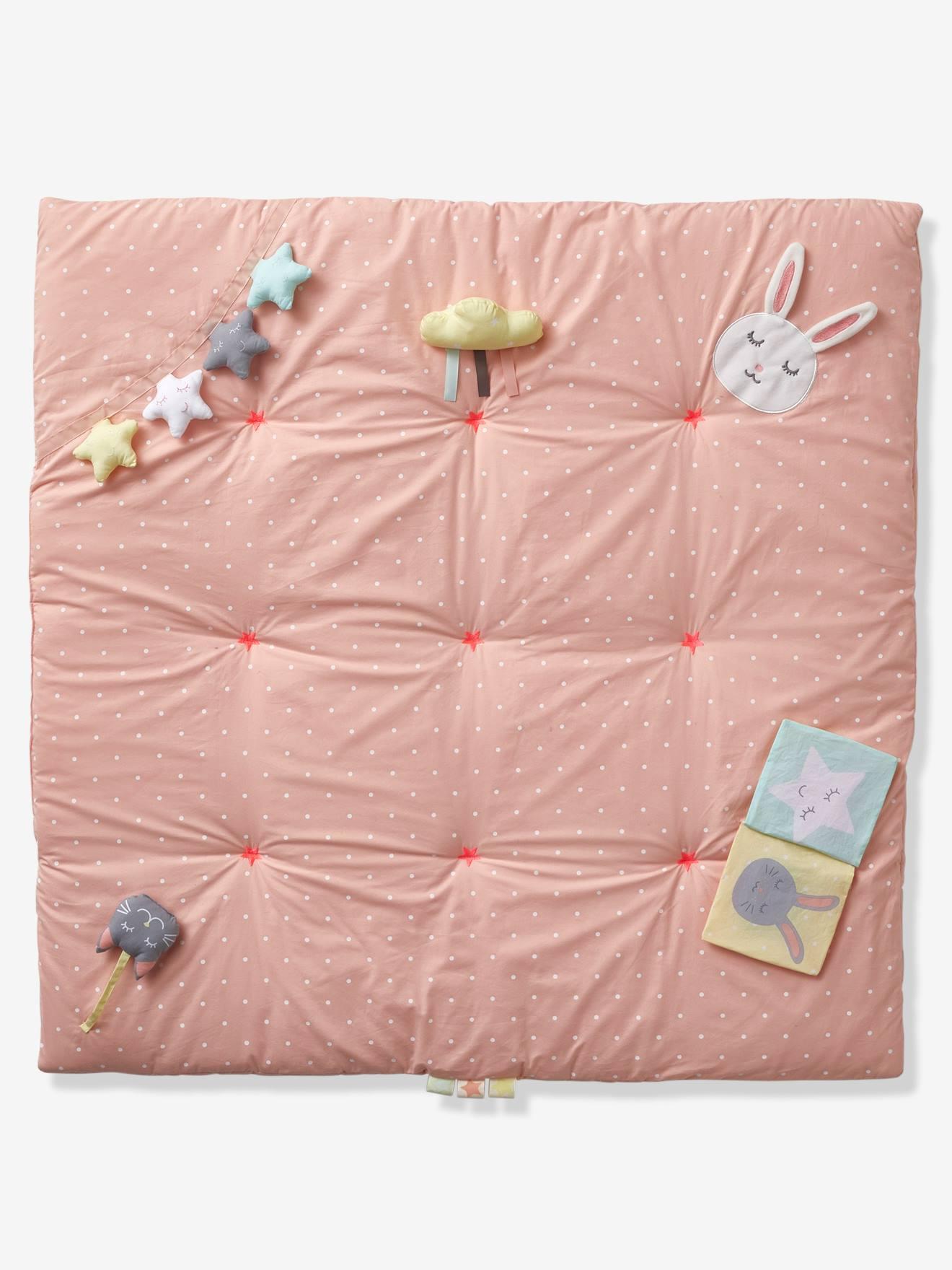 tapis d eveil souple sans arche sweet fun rose imprime
