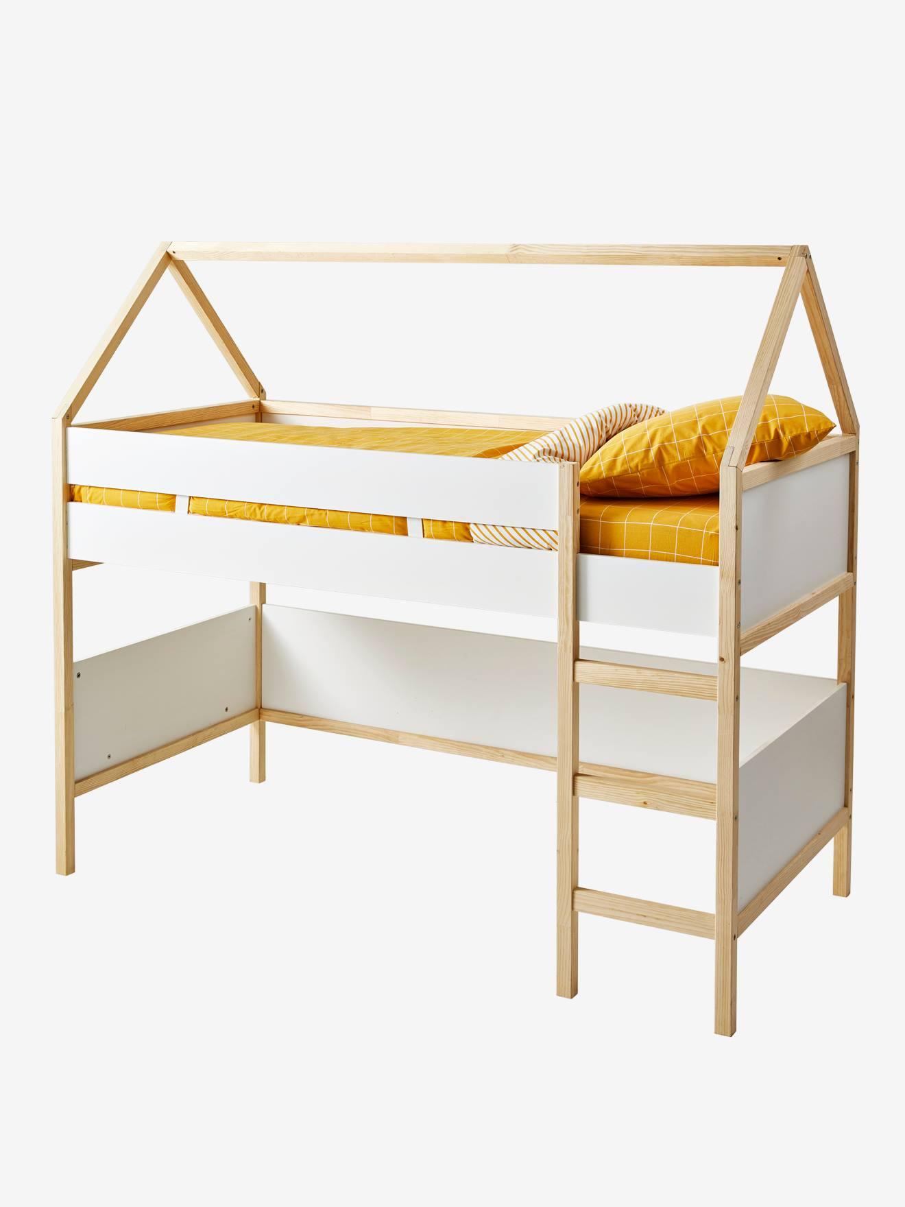 lit mi hauteur cabane blanc bois