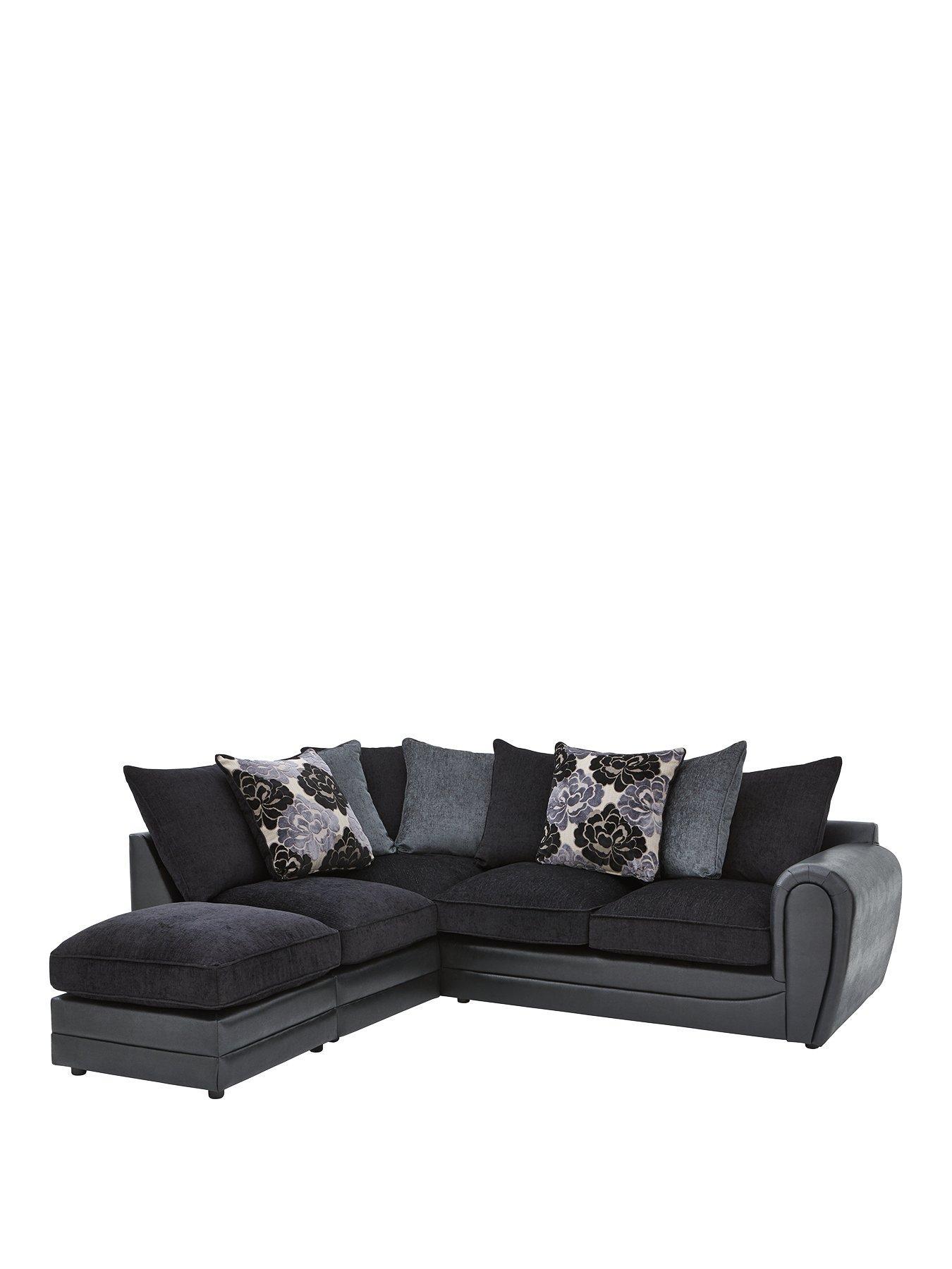 monico left hand single arm scatter back corner chaise sofa footstool