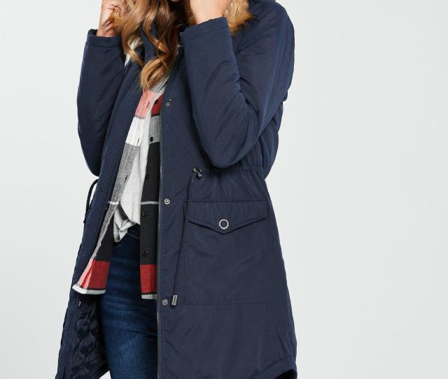 V By Very Ultimate Parka With Eyelet Trim