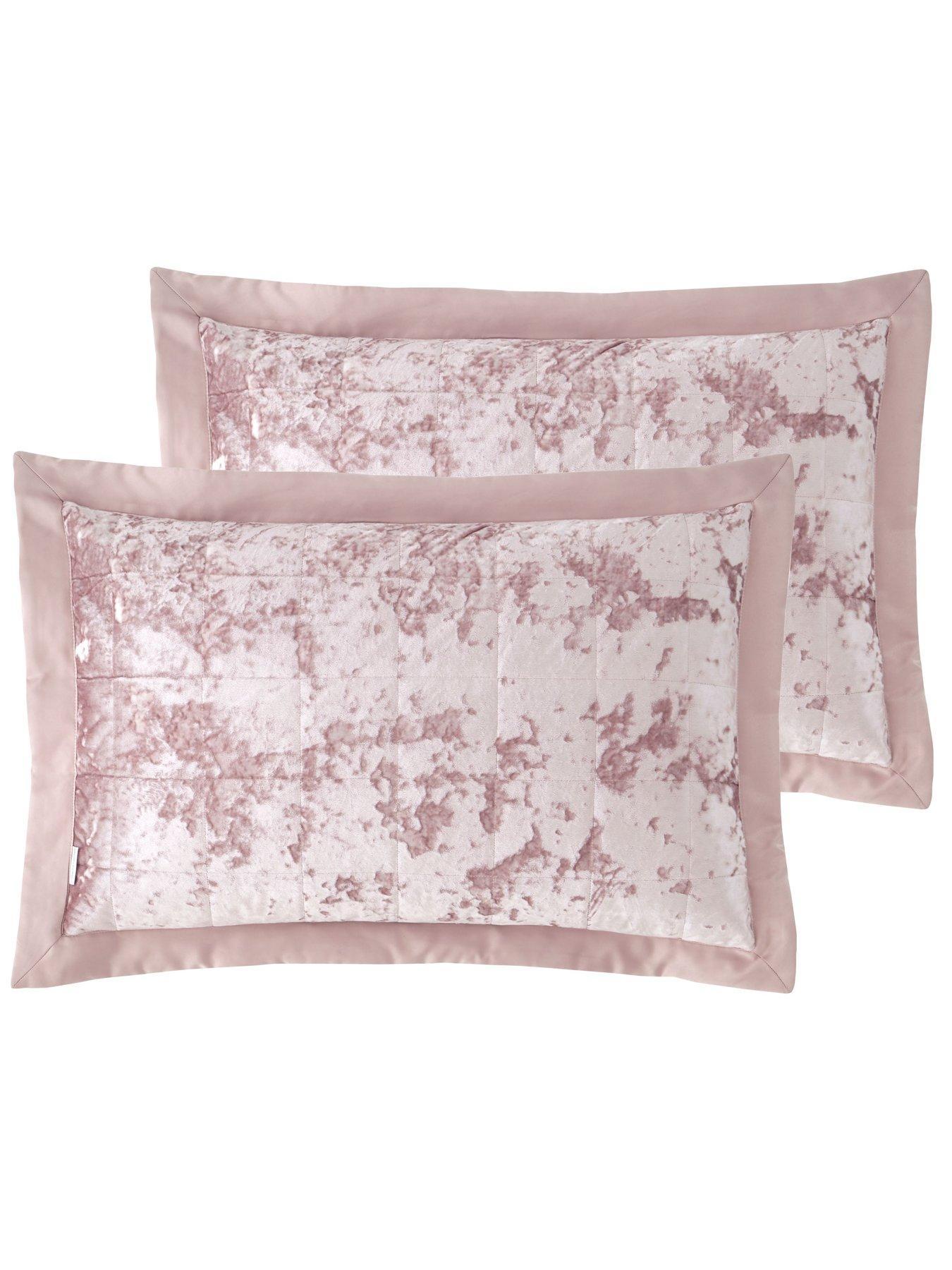 crushed velvet pillowsham pair pink